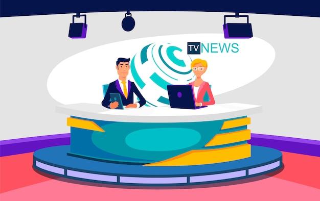 Тв живые новости шоу студия иллюстрации Premium векторы