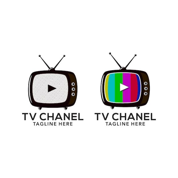 テレビのロゴデザイン Premiumベクター