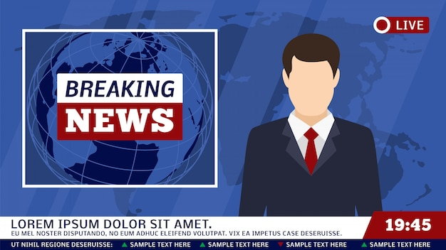 Tv news studio with broadcaster and breaking world background vector illustration Premium Vector