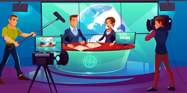Tv news studio with television presenters reporting in broadcasting room Free Vector