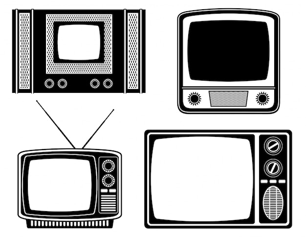 Tv old retro vintage vector illustration black outline silhouette Premium Vector