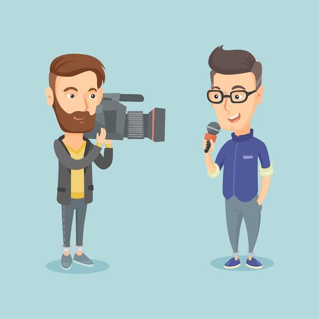 Tv reporter and operator vector illustration. Premium Vector