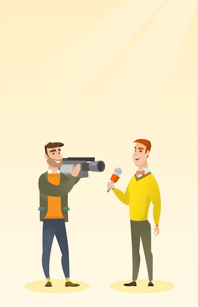 Tv reporter and operator Premium Vector