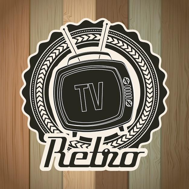 Tv retro over grunge background vector illustration Premium Vector