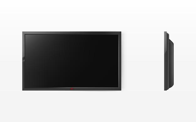 テレビ画面、hdtv用のモダンなブラック液晶パネル、ワイドスクリーンディスプレイ 無料ベクター
