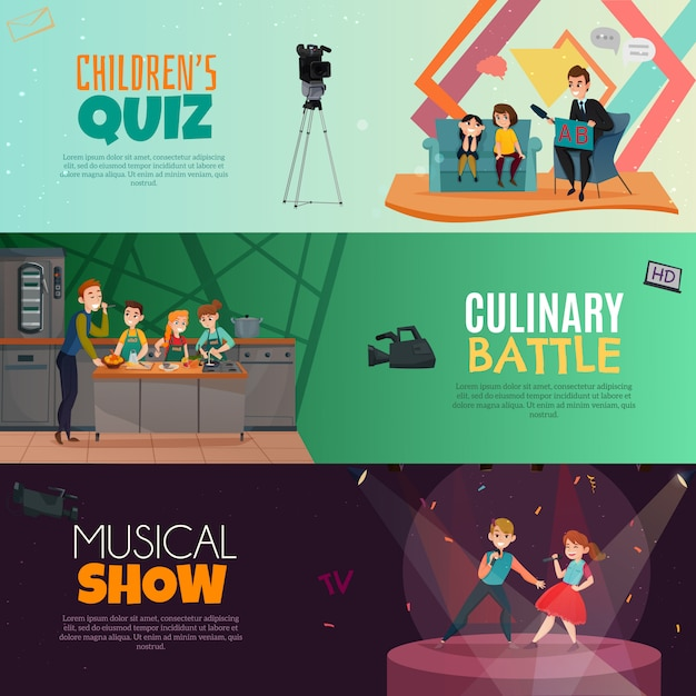 Tv show kids horizontal banners Free Vector