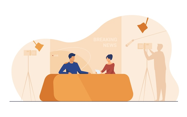 Tv show shooting with film crew and backstage Free Vector