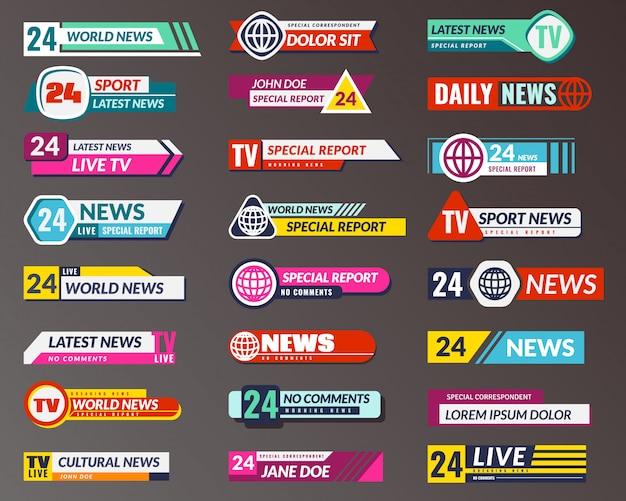 Телевизионное название. графические интерфейсы трансляции баннеров, нижняя панель потокового телевидения. взлом, подделка и спортивные новости заголовок экрана вектор изолированные Premium векторы
