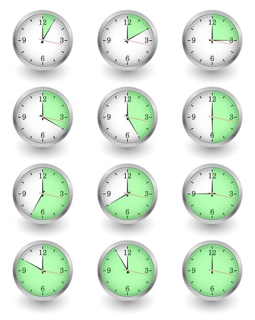 Twelve clocks showing different time on white Premium Vector