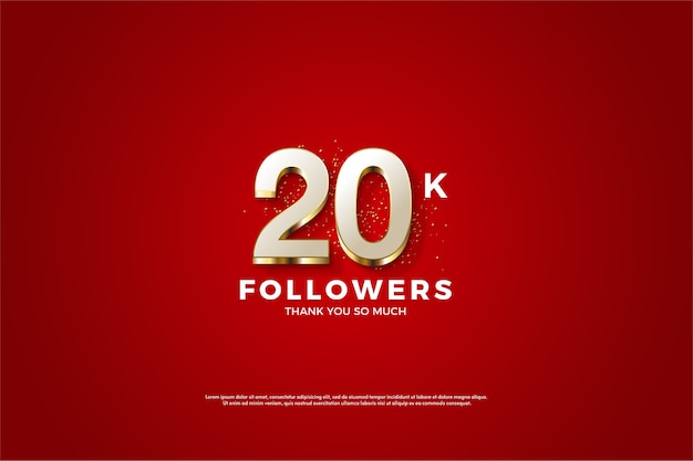 Twenty followers on a maroon background Premium Vector