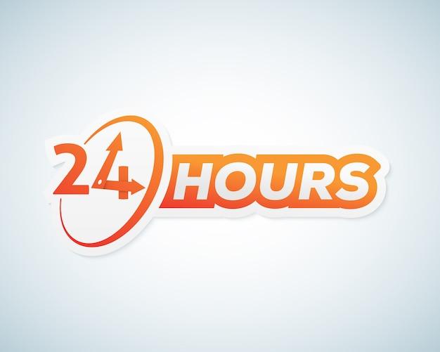 24時間オープンステッカー、看板または看板テンプレート。 Premiumベクター