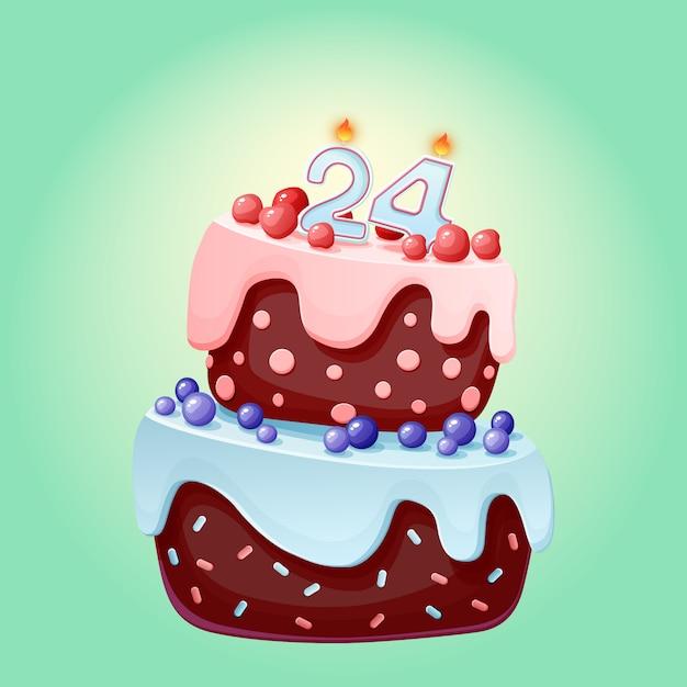 キャンドル番号24の24歳の誕生日かわいい漫画お祝いケーキ。ベリー、チェリー、ブルーベリーのチョコレートビスケット Premiumベクター