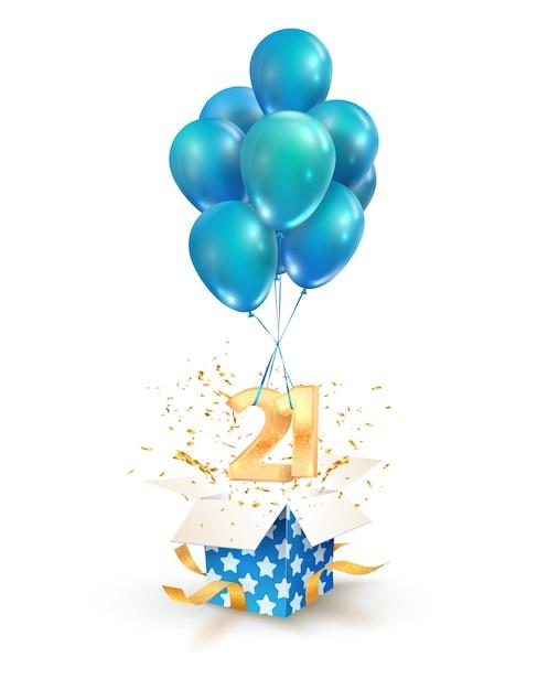 21 년 축하 20 주년 기념 인사말 디자인 요소 격리. 숫자와 풍선 비행 질감 선물 상자 열기 프리미엄 벡터