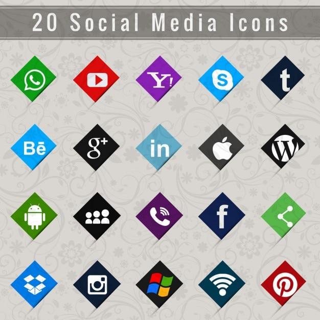 I social media set di icone Vettore gratuito