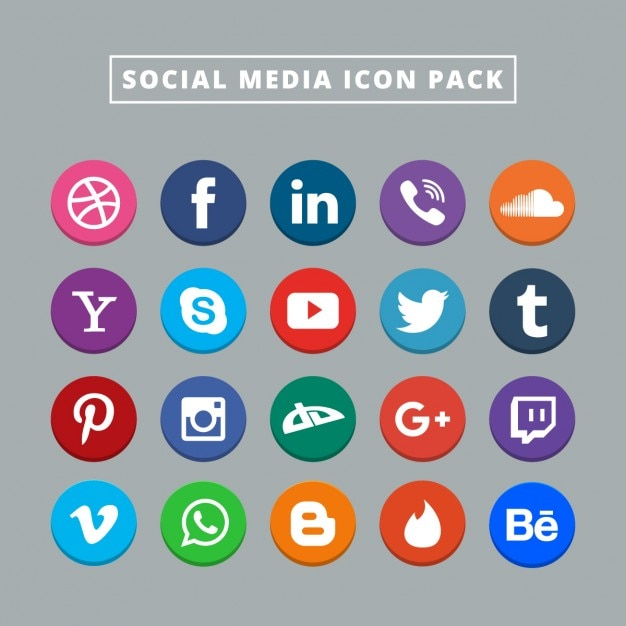 Twenty social media icons Vector | Free Download