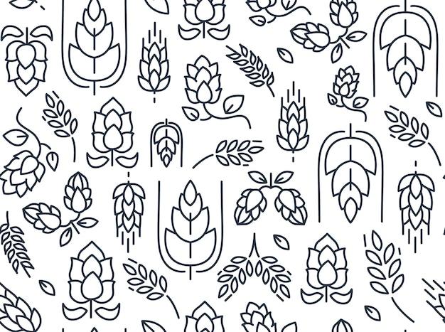 Бесшовный узор из веток хмеля с повторяющимися изображениями солода и листьев, рисунок на белом Бесплатные векторы