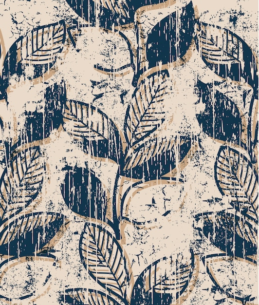 Twigs with leaves vintage pattern . grunge style Free Vector