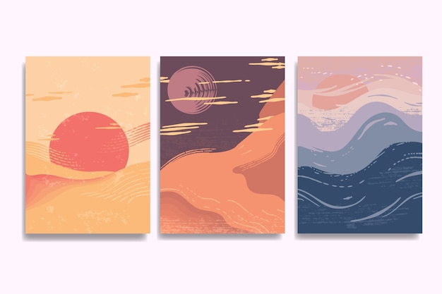 Twilight landscapes japanese cover collection Free Vector