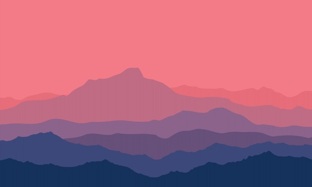 Twilight in the mountains Premium Vector