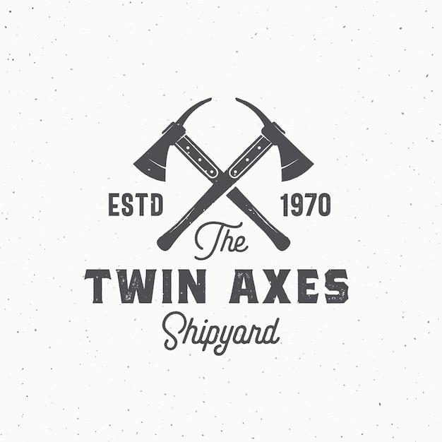 Twin axes abstract sign, symbol or logo Free Vector