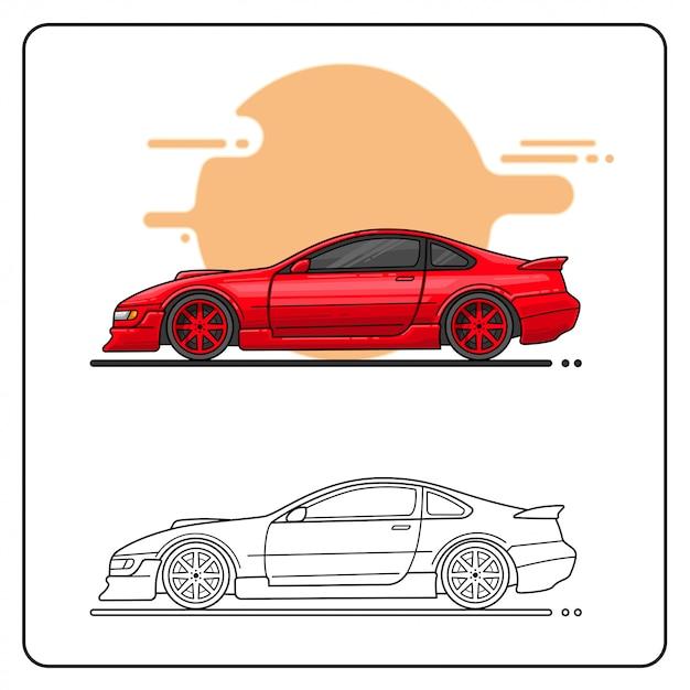 Twin turbo car easy editable Premium Vector