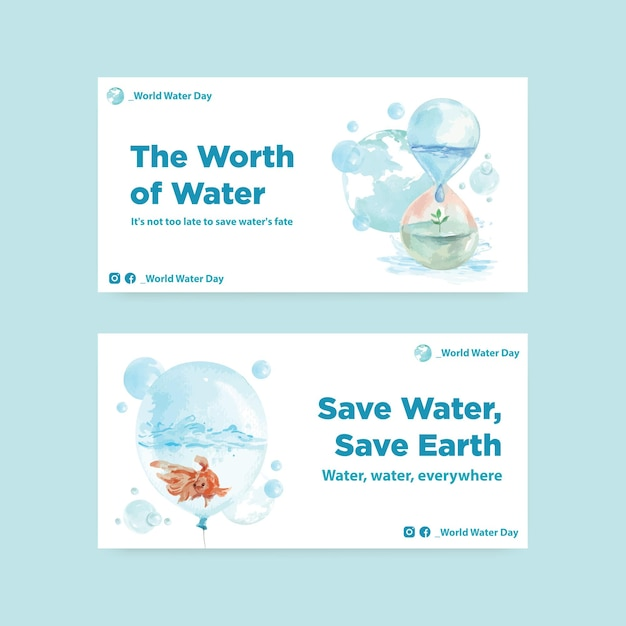 Twister template with world water day concept design for social media and community watercolor illustration Free Vector