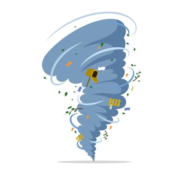 Скручивание торнадо плоской иллюстрации. стихийное бедствие, ураган или шторм, катаклизм и катастрофа. Premium векторы