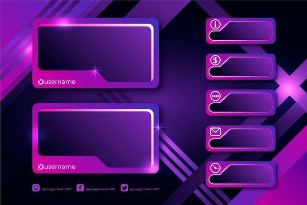 Twitch потоковая панель Premium векторы