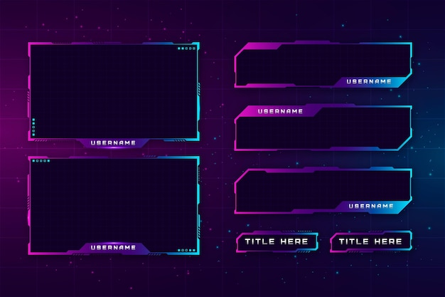 Twitch stream panels collection Free Vector