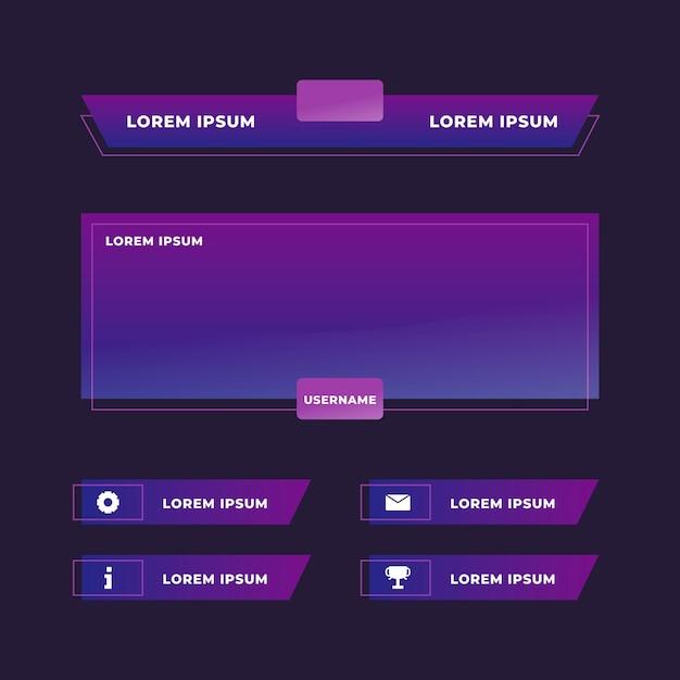 Концепция панелей twitch stream Premium векторы