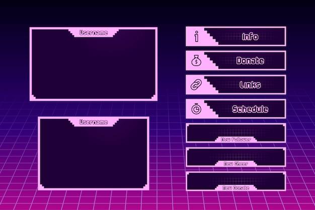 Концепция панелей twitch stream Бесплатные векторы
