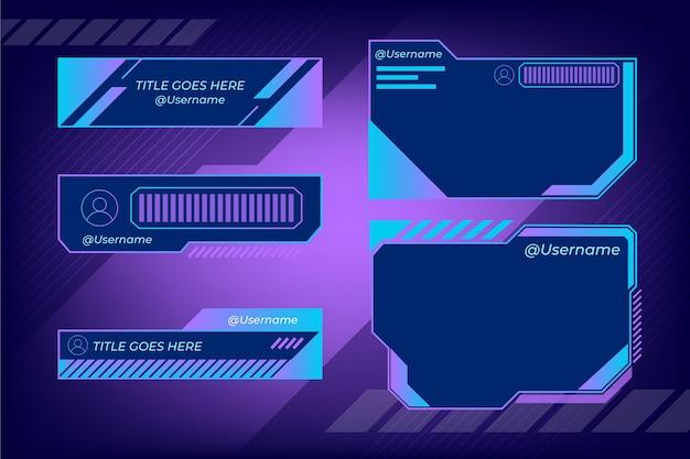 Дизайн панелей twitch stream Бесплатные векторы