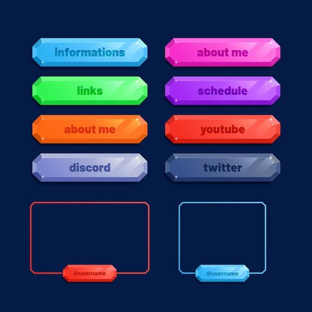 Pacchetto pannelli twitch stream Vettore gratuito