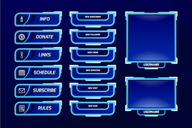 Набор панелей twitch stream Premium векторы