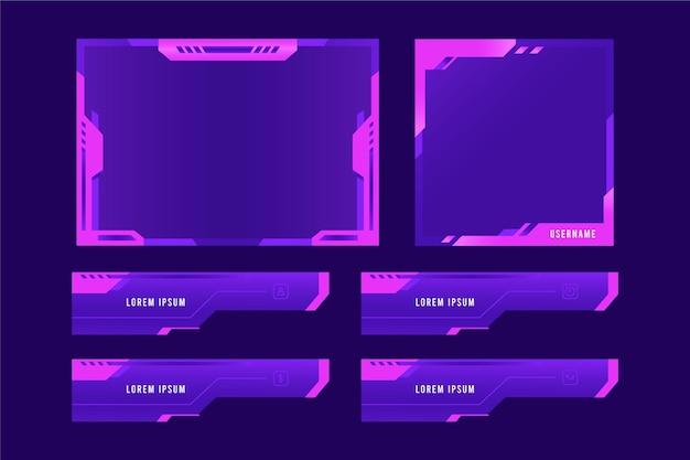 Insieme di modelli di pannelli di flusso twitch Vettore gratuito