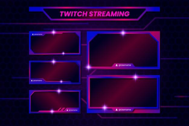 Twitch шаблон панели потоков Premium векторы