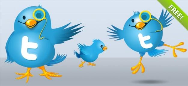 Twitter bird illustrations Free Vector