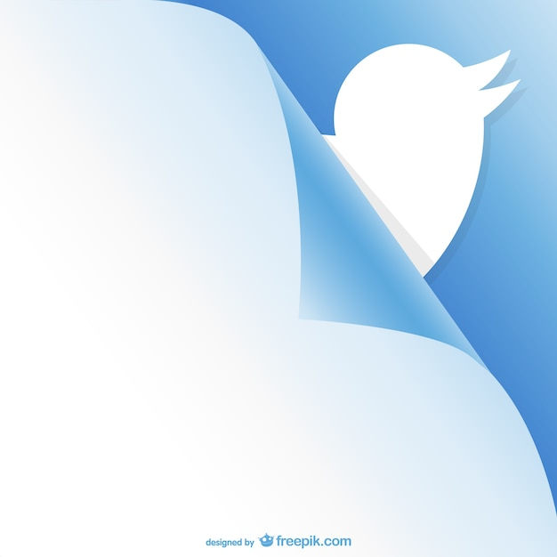 Twitter curled page design Free Vector
