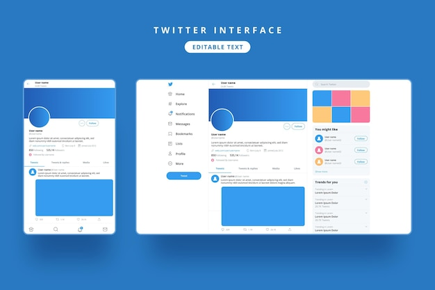 Twitter interface template Free Vector