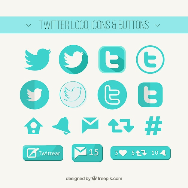 Twitter logo, icons and buttons Free Vector