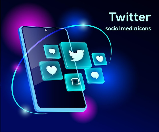 スマートフォンのシンボルとtwitterのソーシャルメディアアイコン Premiumベクター
