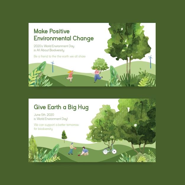 世界環境day.save地球惑星世界概念水彩ベクトルのtwitterテンプレートデザイン 無料ベクター