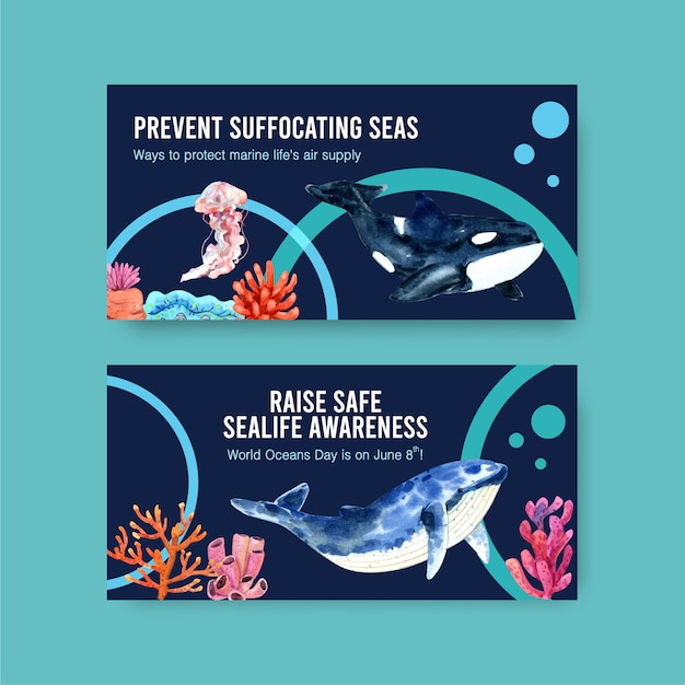 Twitter template design for world oceans day concept with marine animals,jellyfish and orca watercolor vector Free Vector