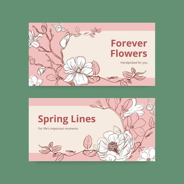Modello di twitter con illustrazione dell'acquerello di disegno di concetto di arte di linea di primavera Vettore gratuito