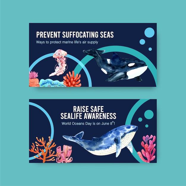 海洋動物、クラゲ、シャチの水彩ベクトルの世界海洋デーのコンセプトのtwitterテンプレートデザイン 無料ベクター