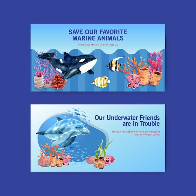 Дизайн шаблона twitter для концепции всемирного дня океанов с вектором акварели морских животных, косаток, дельфинов и кораллов Бесплатные векторы