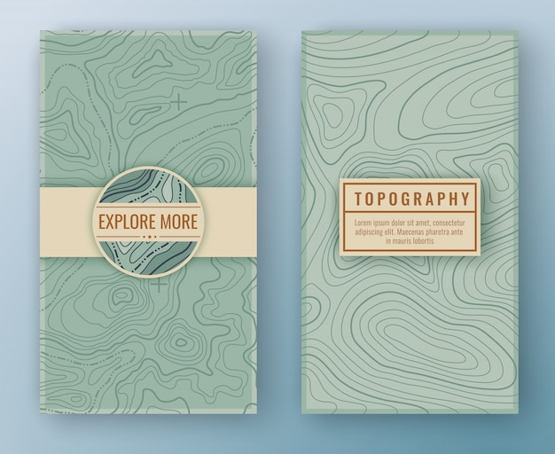 Two abstract retro vertical banners Premium Vector