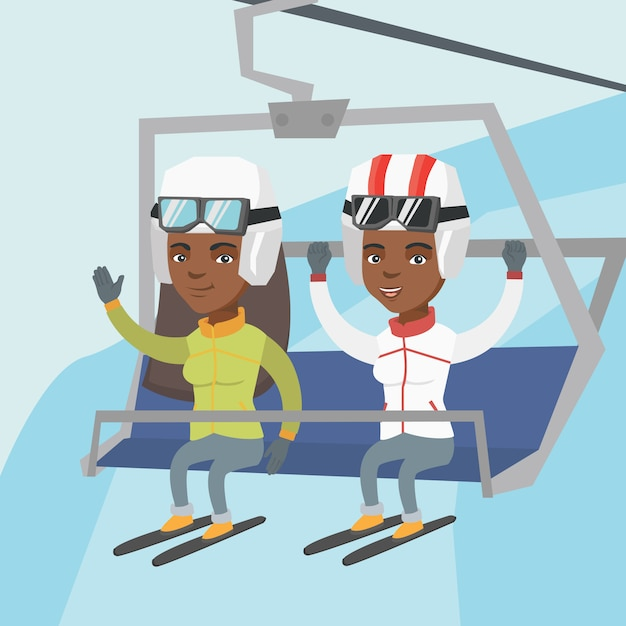 Two african-american skiers using cableway. Premium Vector