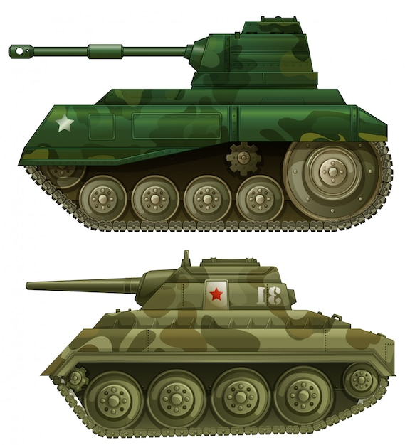 Two armoured tanks Free Vector