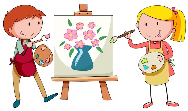 Two artists painting on canvas Free Vector